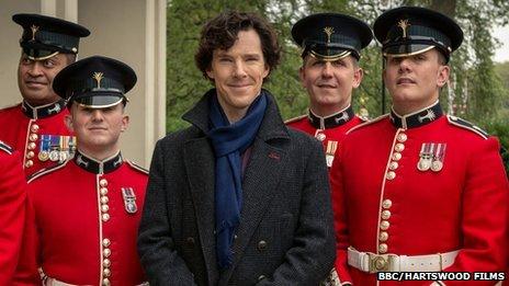 Sherlock and Welsh Guards in scarlet uniform