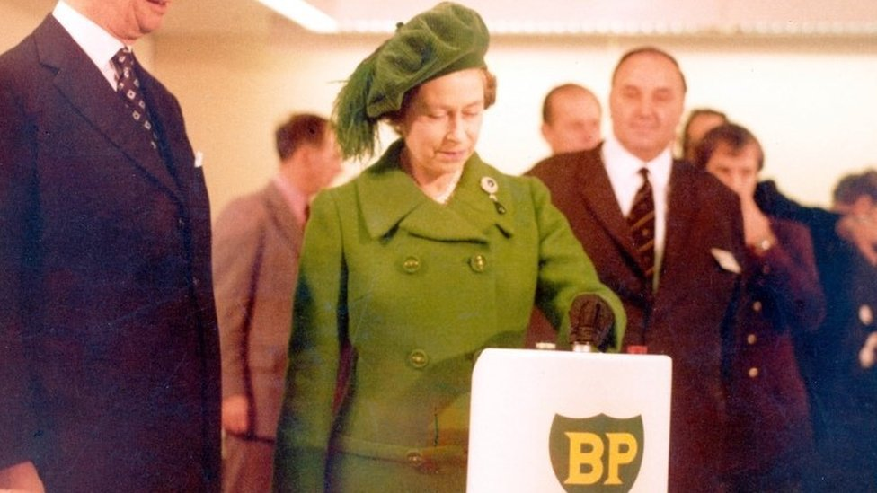 The first flow of North Sea oil from the Forties oil field was started in 1975 by the Queen, more than ten years after explorations for the valuable resource began.