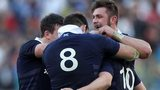 Scotland celebrate their victory in Rome