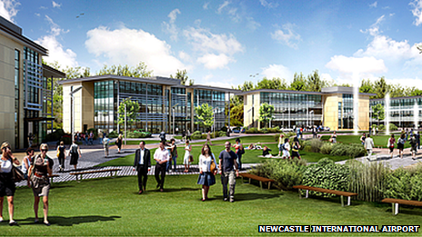 Artist impression of Newcastle Airport business park