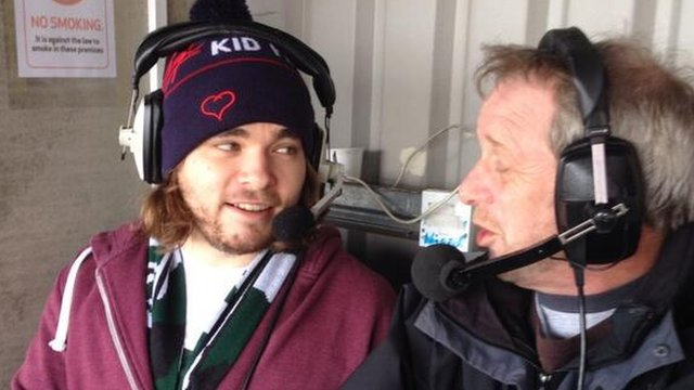 Chris Wood with BBC commentator Gordon Sparks