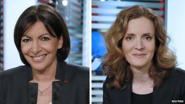 Paris mayoral candidates Anne Hidalgo (l) and Nathalie Kosciusko-Morizet