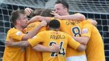 Cambridge United celebrate reaching Wembley