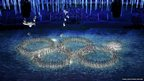 Performers form the Olympic rings during the closing ceremony for the 2014 Sochi Winter Olympics