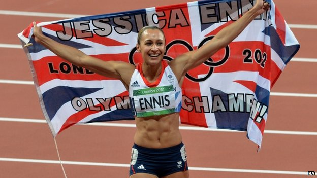 Jessica Ennis-Hill celebrates her Olympic success