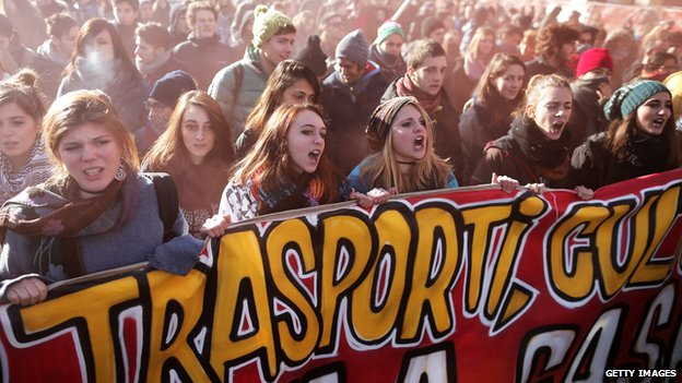 Students in an anti-austerity protest in Turin, 14 December 2013