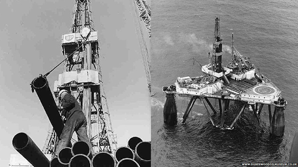 In 1970 the semi-submersible rig Sea Quest, pictured, made the first offshore oil find in the UK discovering the Forties Oil Field, after six years of explorations.