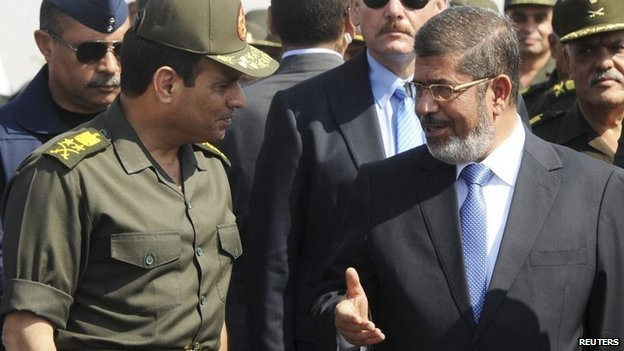 Egypt's President Mohamed Mursi (R) speaks with Defence Minister Abdel Fattah al-Sisi during his visit to the 6th Armoured Division of the Second Army, near Ismailia, some 75 miles (121 km) north of Cairo, in this October 10, 2012 file photograph.