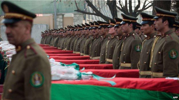 Bodies of 17 Afghan soldiers