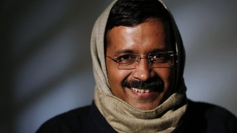 Leader of the Aam Aadmi Party (AAP) Arvind Kejriwal poses before the start of an interview at his residence on the outskirts of New Delhi on 27 January 2014.