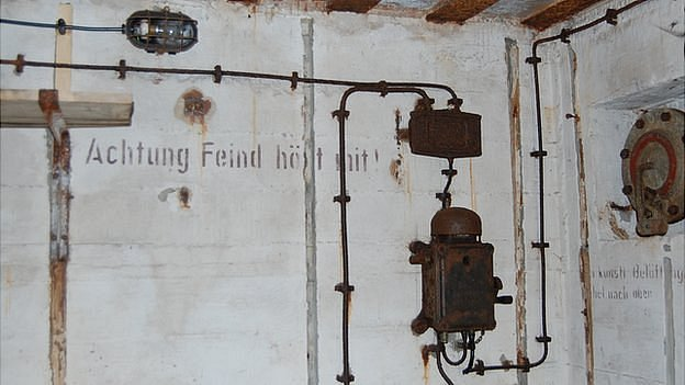 German writing and fixtures inside the bunker near the Halfway, Guernsey