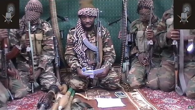 Boko Haram leader Abubakar Shekau, and his men