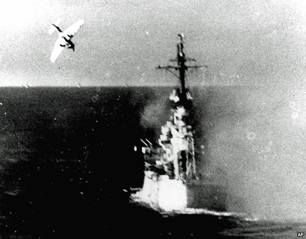 Kamikaze attack on a US warship in the Pacific, 1944