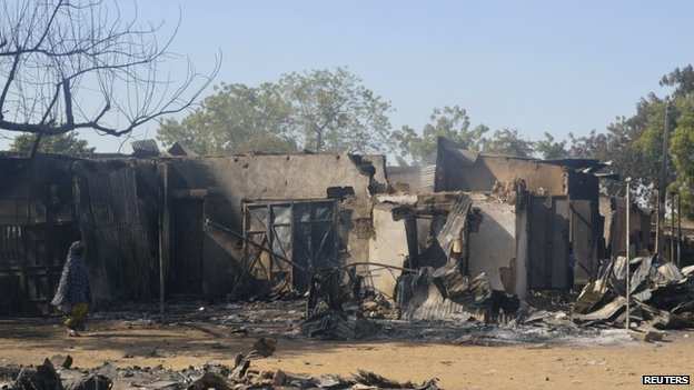 Homes destroyed by Boko Haram militants in Bama, Borno State (February 2014)