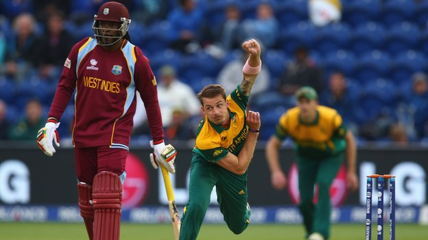 West Indies' Chris Gayle and South Africa's Dale Steyn