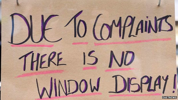 'Due to complaints there is no window display!' sign at JBS Family Butcher in Sudbury
