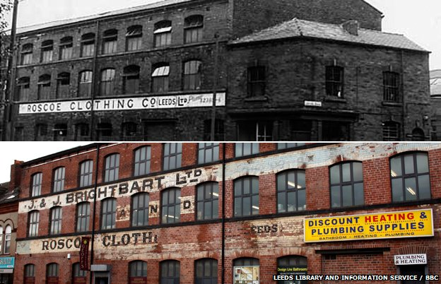 Roscoe Clothing on Meanwood Road pictured in 1967 and the present day