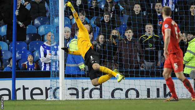 Ben Hamer makes a save against Sheffield Wednesday