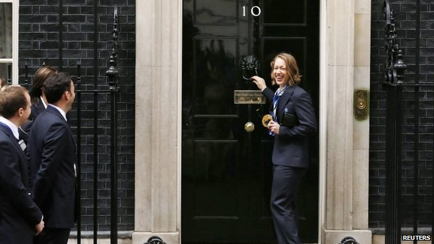 Olympic gold medallist skeleton racer Lizzy Yarnold outside No 10 Downing Street in London