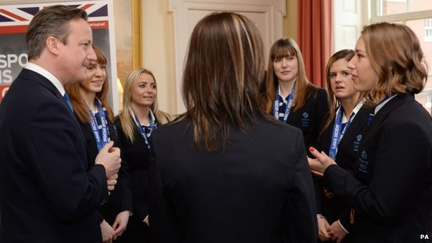 Prime Minister David Cameron meets the medal winning athletes from the Sochi Games