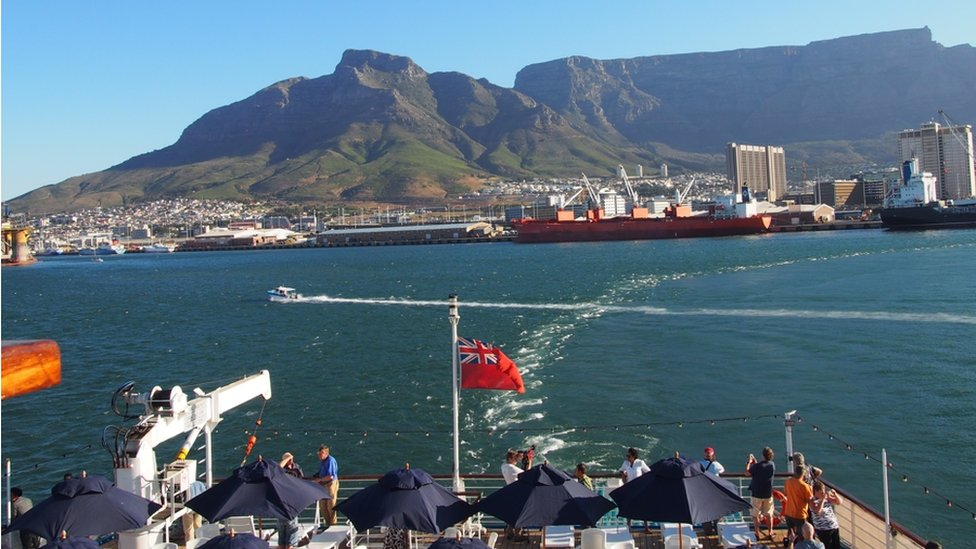 The RMS St Helena leaving Cape Town