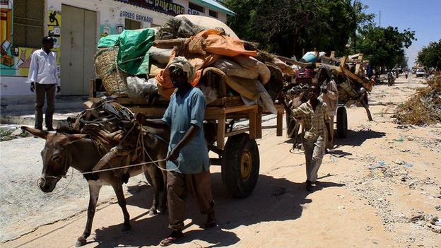 A man with a donkey in Mogadishu (October 2011)
