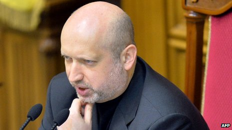 Ukraine's interim president, Olexander Turchynov, speaks during a session of  parliament in Kiev on 25 February 2014.