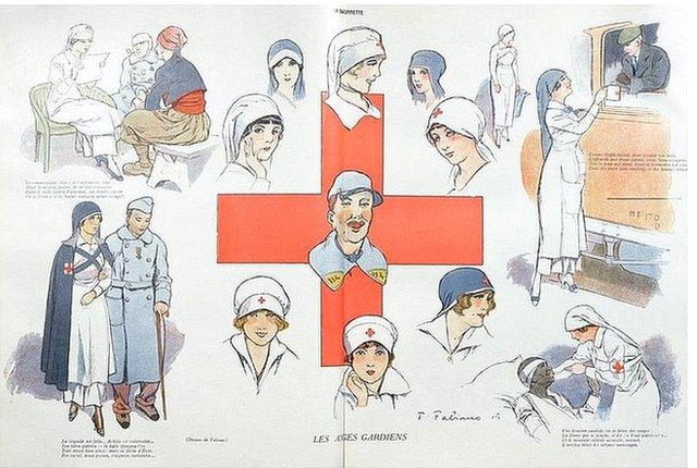 Illustration of Red Cross nurses