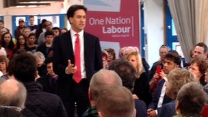 Labour Leader Ed Miliband answers questions at party meeting in Leeds
