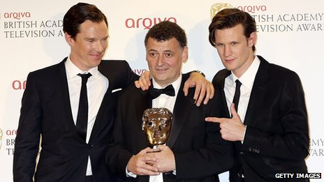 Benedict Cumberbatch, Steven Moffat and Matt Smith