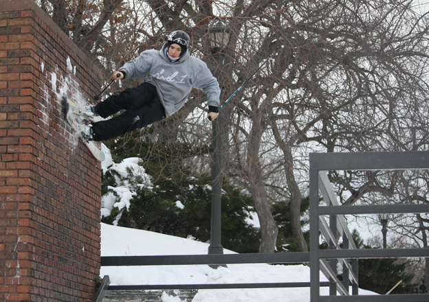 Logan Imlach skiing a wall ride in St Paul, Minneapolis