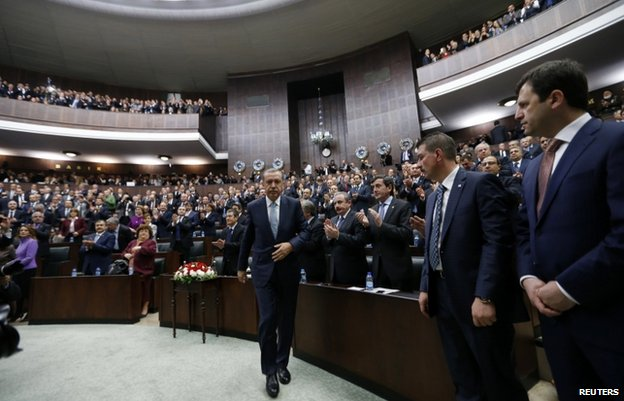 The Turkish prime minister addressed a party meeting in parliament on 25 February