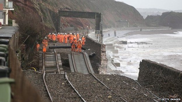 Storm damage to rail track at Dawlish, Devon