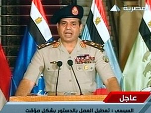 Abdul Fattah al-Sisi announces the overthrow of President Mohammed Morsi on state TV (3 July 2013)
