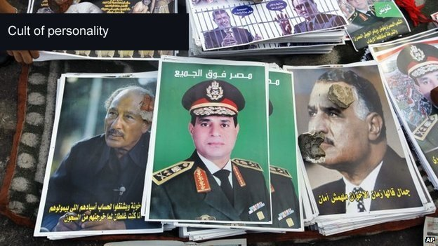 "Posters showing Abdul Fattah al-Sisi with Arabic that reads ""Egypt over all"", between posters of late Presidents Anwar Sadat, left, and Gamal Abdel Nasser, right, in Tahrir Square in Cairo"