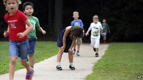 Children run in Marietta, Georgia, on 21 August 2013
