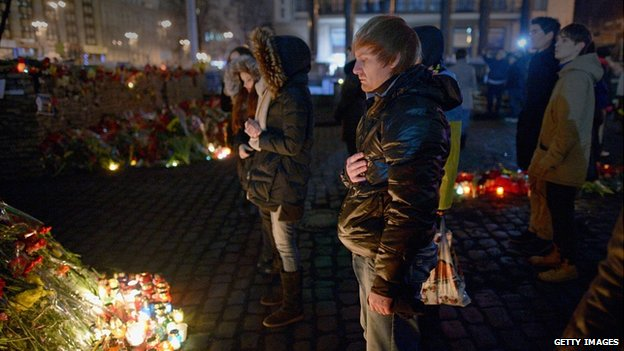 Candles for the dead in Independence Square, Kiev. 25 Feb 2014