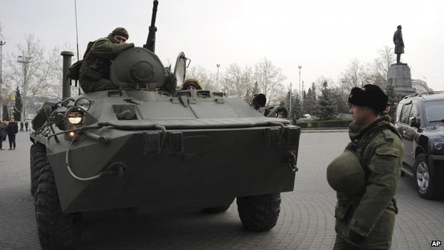 Russian armoured personnel carrier on a street in Sevastopol, Crimea. 25 Feb 2014