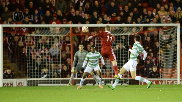 Jonny Hayes scores for Aberdeen against Celtic