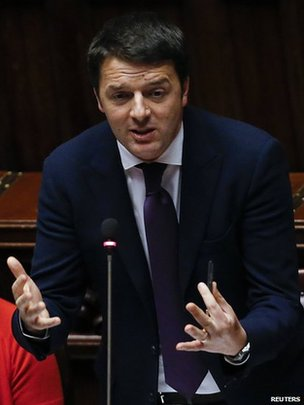 Italian Prime Minister Matteo Renzi speaks during a confidence vote at the lower house of the parliament in Rome on 25 February 2014.
