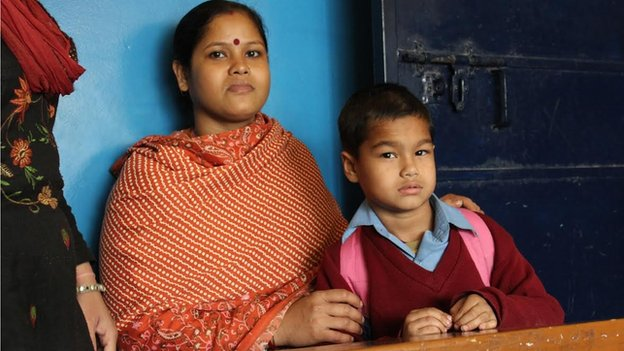 Sangeeta Pillai and her five-year-old son.