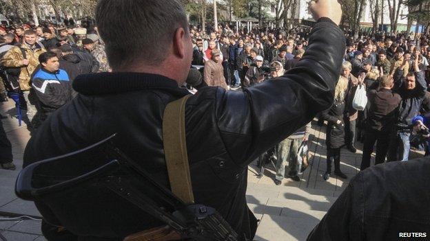 Pro-Russian activists in Crimea (23 February 2014)