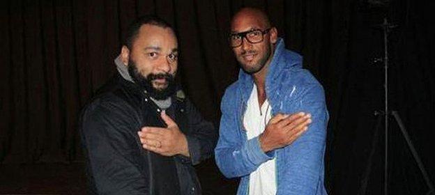 Nicolas Anelka alongside controversial French comedian Dieudonne M'bala M'bala