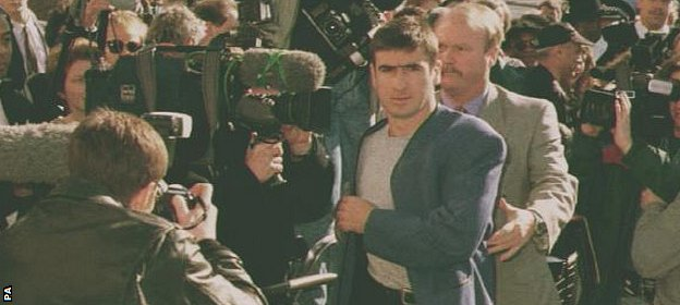 Eric Cantona arrives at court to answer charges of assault on Crystal Palace fan Matthew Simmons