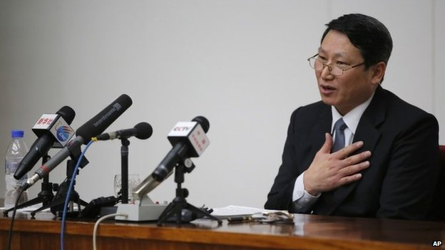 Kim Jong-uk, a South Korean Baptist missionary, speaks during a news conference in Pyongyang, North Korea, Thursday, 27 February 2014