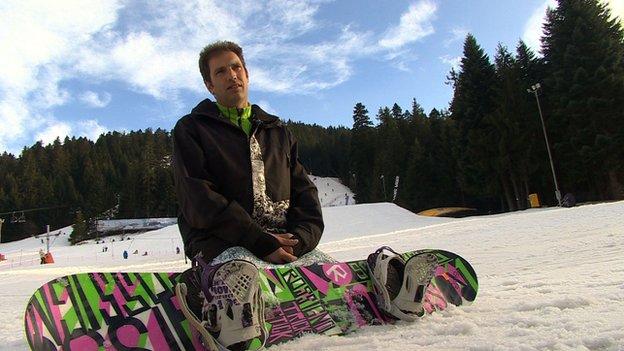 Briton Matt Pigden on his snowboard in Bulgaria