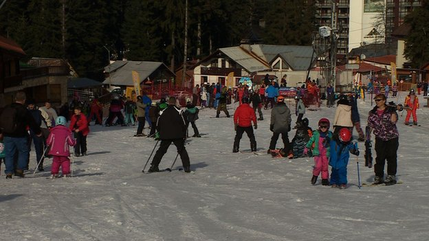The ski slopes in the resort of Borovets