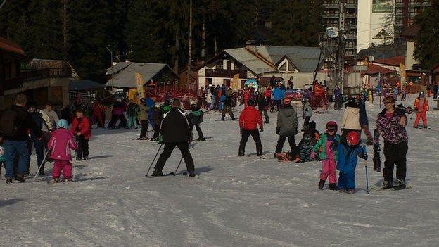 The ski slopes in the resort of Borovets