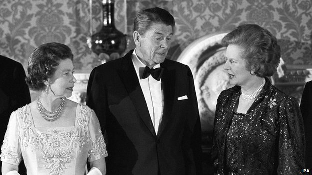 The Queen, US President Ronald Reagan and Prime Minister Margaret Thatcher