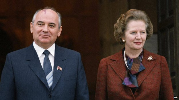 Mikhail Gorbachev and Margaret Thatcher